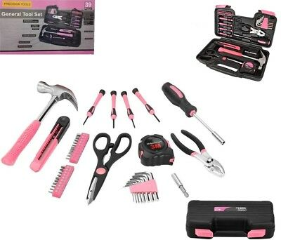 Pink Lady Tool Kit With Carry Case Womens Household Craftsman 39 Pcs Tool Set