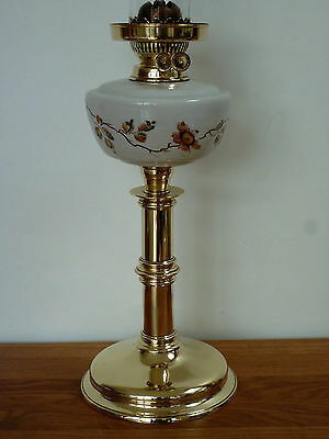 Victorian enameld glass & brass oil lamp with chimney Circa 1890-1900