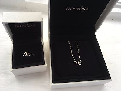 Pandora Intwined Hearts Jewellery set- ring and necklace (14ct gold)