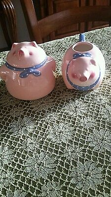 """Milk/Creamer Pig & Sugar Bowl Pig From Clay Art """"PIG OUT"""", Hand Painted (1991)"""