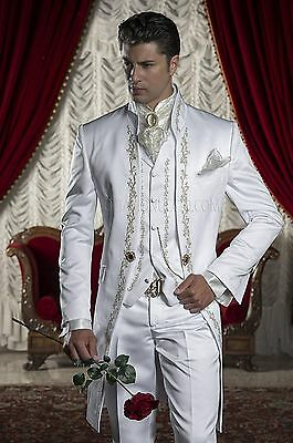 White Embroidery Groom Tuxedos Best Man Wedding Prom Suit Groomsman Men's Suits+