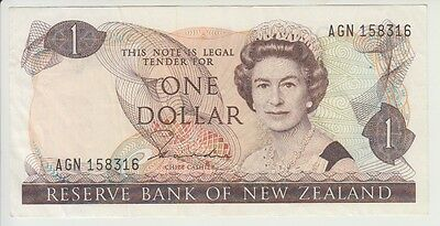 NEW ZEALAND CAT # 169 a 1 DOLLAR SIGNATURE HARDIE  ELIZABETH II  EXTRA FINE