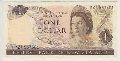NEW ZEALAND CAT# 163 d 1 DOLLAR SIGNATURE HARDIE ELIZABETH II EXTRA FINE