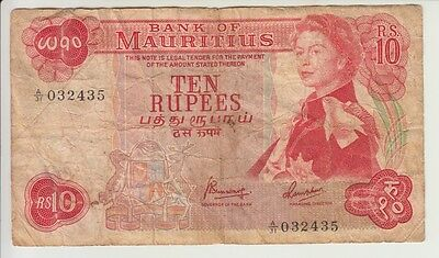 MAURITIUS CAT # 31c 10 RUPEES SIGNATURE 4 ELIZABETH II VERY GOOD