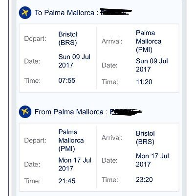 *reduced* 2 Return Bristol To Mallorca 9Th -17Th July- Name Change Included!