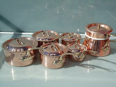 5 copper pan stainless steel with lids + copper bain marie ( quality mauviel