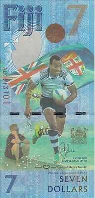 Fiji 7 Dollars Banknote  Unc P-New  Rugby  Gold Olympians
