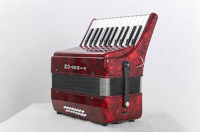 New Red Professional 25 Key 16 Bass Musical Instruments Accordion #