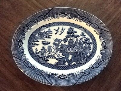 CHURCHILL STAFFORDSHIRE  ENGLAND BLUE WILLOW MEAT PLATTER 14 1/2 x 11 1/2""