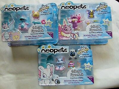 Neopets 4 Pks Faerie Scorchio And Snorkle   Wocky Mazzew Acara Babaa New 2008