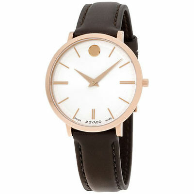 Movado*BRAND NEW* Ultra Slim Silver Dial Leather Strap Ladies Watch 0607093