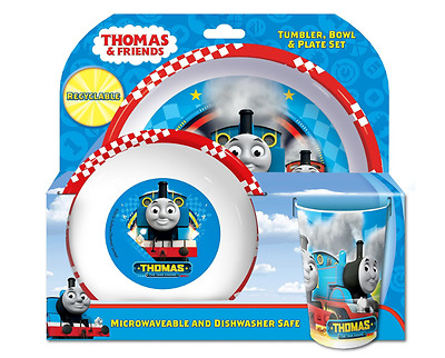 Thomas & Friends Racing Bowl Plate And Tumbler Set Blue Set of 3 Kids Dining NEW