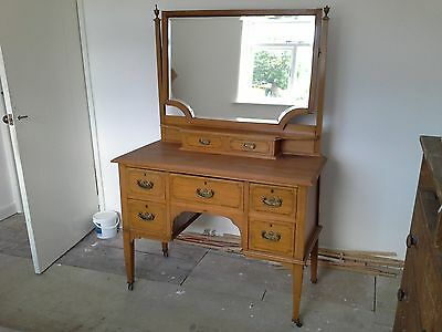 Antique Satinwood Dressing Table.and Wardrobe.