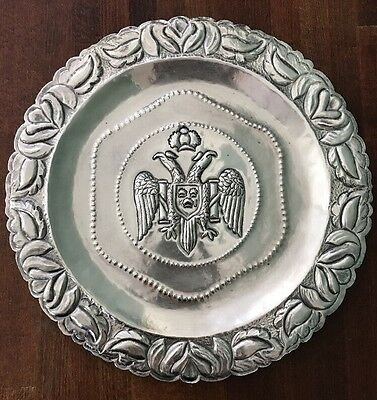 """Antique Double Eagle Sterling Silver 925 charger platter 10.5"""" Peru"""