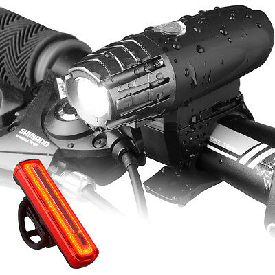 Bike USB Rechargeable Front Head High Bright Light + Bicycle Tail Lamp CS520