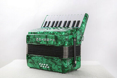 Green Professional 22 Key 8 Bass Children Musical Instruments Accordion #