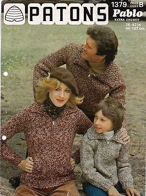Vintage Patons Knitting Pattern - Raglan Chunky Jackets For Family