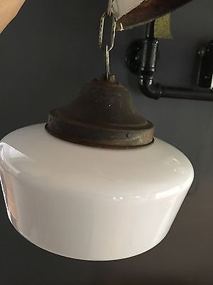 "Antique Vintage Ceiling Light School House, 12"" Milk Glass Globe"
