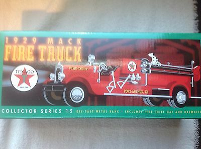 Texaco 1929 Mack Fire Truck Diecast metal bank, New mint in box