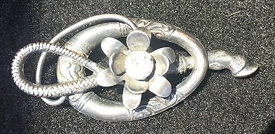Whip and Horse Hoof And Flower Pin