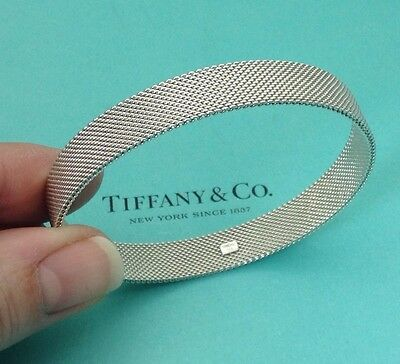 Tiffany & Co. Sterling Silver Somerset Mesh Firm Bangle Bracelet