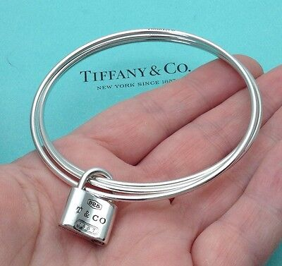 Tiffany & Co. Sterling Silver 1837 Padlock Locks Triple 3 Bangle Bracelet