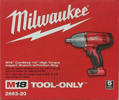 (New) Milwaukee 18-Volt 1/2 Inch High Torque Impact Wrench 2663-20 Tool only