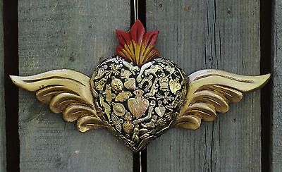 Hand Made Wood Heart & Gold Wings Milagros Folk Art Michoacán Mexico Shabby Chic