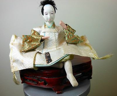 Vintage Japanese Gofun Hina Doll - Sitting Man with Wood Stand - Emperor's court