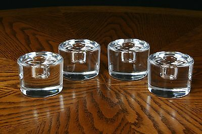 Orrefors Crystal Mini Taper Candle Holders Signed Made in Sweeden 4