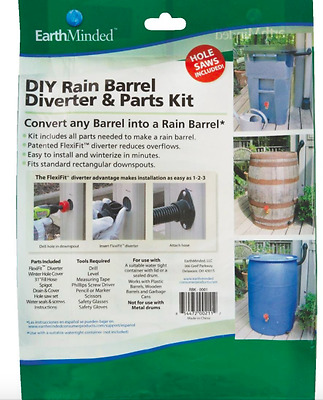 EarthMinded Diy Rain Barrel Diverter & Parts Kit, Build Your Own Rain Barrel