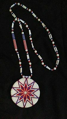 Patriotic Red White and Blue Madallion. 100% hand beaded Authentic Montana Made.