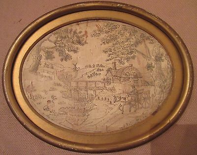 antique 1700's hand embroidered seed stitch Dutch farm scene needlepoint art