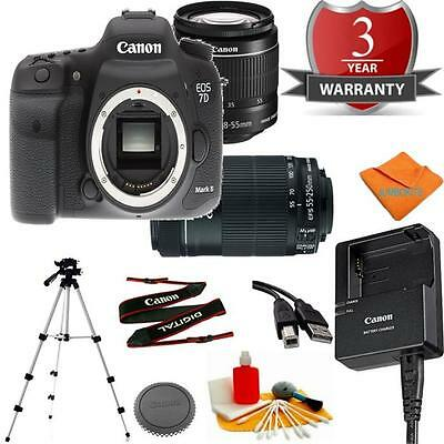 Canon 7D MARK II Body Bundle + 18-55MM STM + 55-250 STM + Cleaning Kit + Tripod