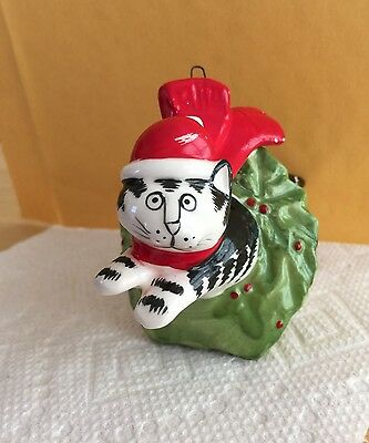 Vintage Kliban Ceramic Super Cat in Wreath Christmas Ornament