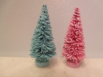 Mini Pink Rose Aqua Trees Shabby Sisal Bottle Brush Miniature Christmas Chic