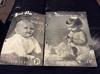 PATONS 383 & SUN-GLO 95 BABY KNITTING BOOKS vintage SHAWL DRESS TOPS JUMPERS