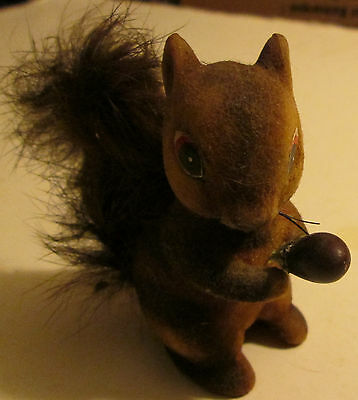 Vintage Japanese Fuzzy Plastic Squirrel Figure RARE 3 Inch Animal Collectible