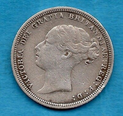 1881 VICTORIAN SILVER SIXPENCE COIN.  VICTORIA YOUNG HEAD 6d.  TANNER.