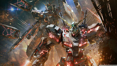Gundam versus concept art video game Silk Poster Print, 13 X 24 inch