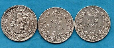 1887 1890 1891 VICTORIAN SILVER SIXPENCE COIN. 3 X QUEEN VICTORIA YOUNG HEAD 6d.