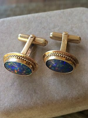 Antique Vintage 1930's Dapper 10k Gold & black opal? cufflinks 7.25g *FREE POST