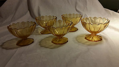 Set of Vintage 30's Depression Glass Dessert Bowls Footed comport art deco