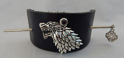 Black Leather Wolf Hair Barrette w/ Hair Stick Accessories New Silver Fashion