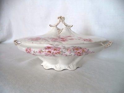 Antique Edwin M. Knowles China Company Semi Vitreous Serving Bowl With Lid