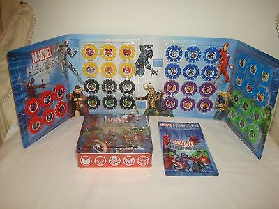 Woolworths Marvel Hero Discs Complete Set In Folder + New Collectors Tin & Pouch
