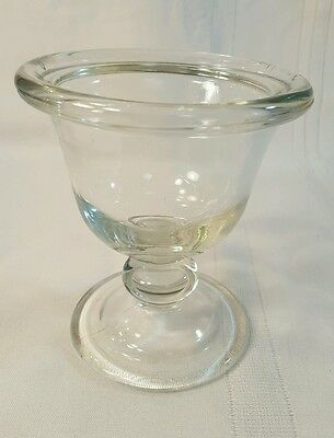 Vintage Pressed Glass Bowl with Pedestal Base - Clear Glass - 92