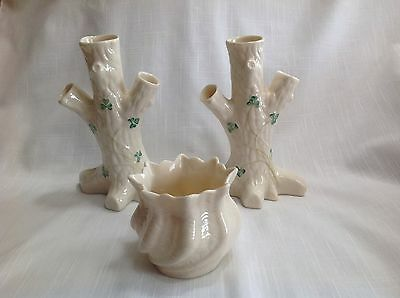 2 Belleek Bud Vases, 6th Green Mark,  Shell Swirl Vase, 13th Brown Mark