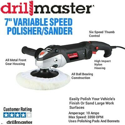 Drillmaster 7 Inch 10 Amp Variable Speed Polisher Sander ~ New in Box