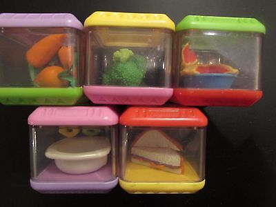 Fisher Price Peek A Blocks Hungry Hippo Food Complete Blok Set Lot 5 Replacement